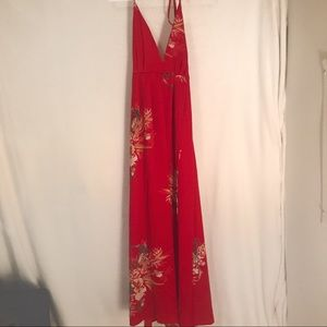 Red maxi dress with slit - size small